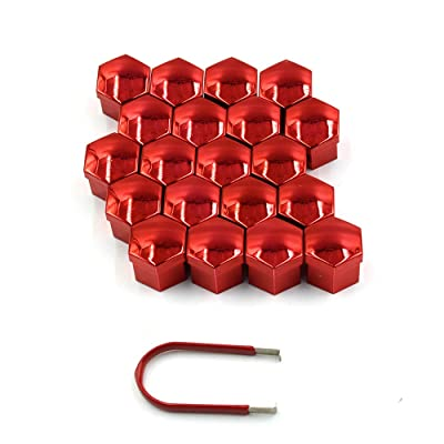 LU HWN 4X4 20 Pcs Universal 17mm Wheel Lug Nut Bolt Cove Caps and Removal Tools - Red: Industrial & Scientific