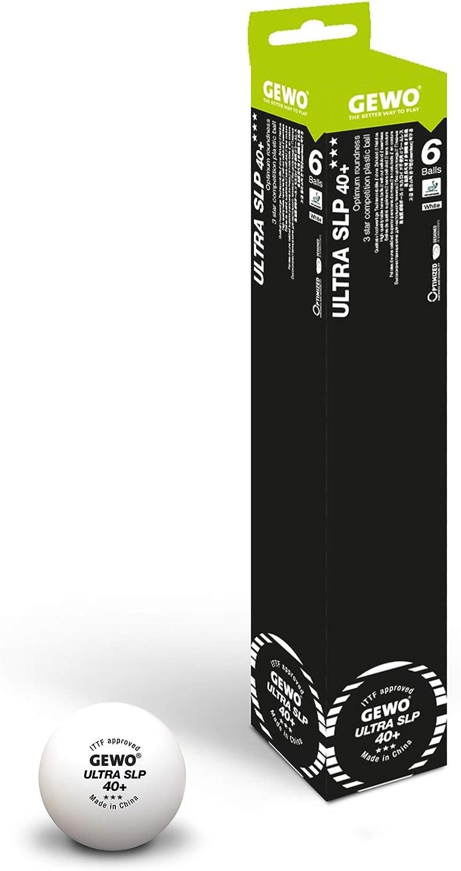 GEWO Ball Ultra SLP 6sin Costuras/máxima rundheit Mesa Pelota de Tenis, Color Blanco, 40