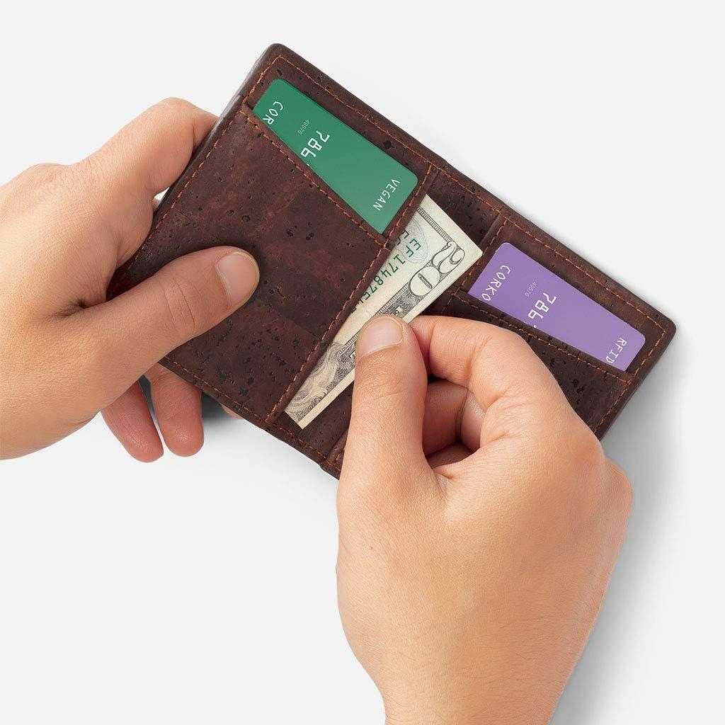 Corkor Portefeuille Minimaliste RFID en Li/ège pour Homme Cartes de Credit V/ég/étalien Bleu