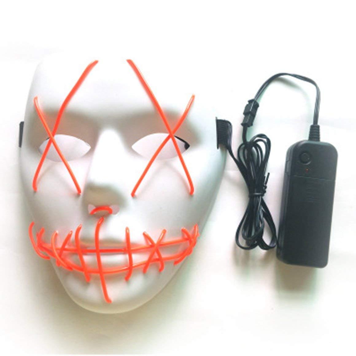 Funnyrunstore Halloween Masque Masques LED Lueur Masque Effrayant Allumer Le Masque de Cosplay Lueur dans l'obscurité pour Festival Music Costume De Noël (Blanc)