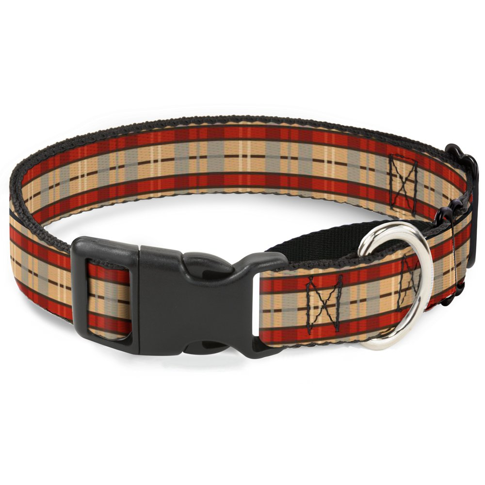 Buckle-Down Americana Plaid Martingale Dog Collar, 1  Wide-Fits 15-26  Neck-Large