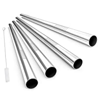 ALINK Stainless Steel Drinking Straws, Extra Wide Long Reusable Fat Boba Metal Smoothie Straws Jumbo, 12 Mm X 9 in Set of 4 with Cleaning Brush