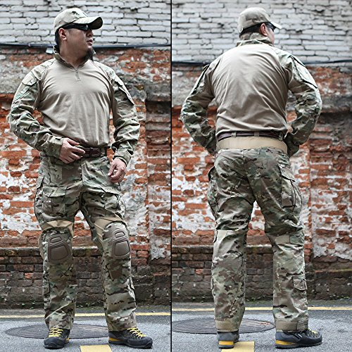 Review IDOGEAR Men G3 Assault Combat Uniform Set With Knee Pads MultiCam Camouflage Tactical Airsoft Hunting Paintball Gear(Medium)