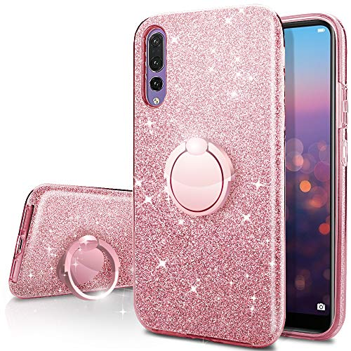 Huawei P20 Pro Case,Silverback Girls Bling Glitter Sparkle Cute Phone Case with 360 Rotating Ring Stand, Soft TPU Outer Cover + Hard PC Inner Shell Skin for Huawei P20 Pro -Rose Gold
