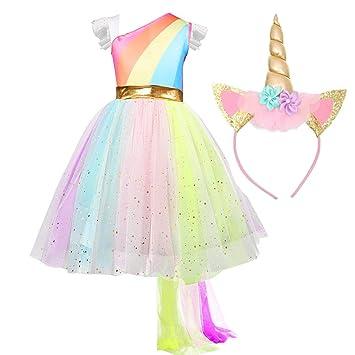 QSEFT: Vestido tutú de Princesa arcoíris para niños, Fiesta ...
