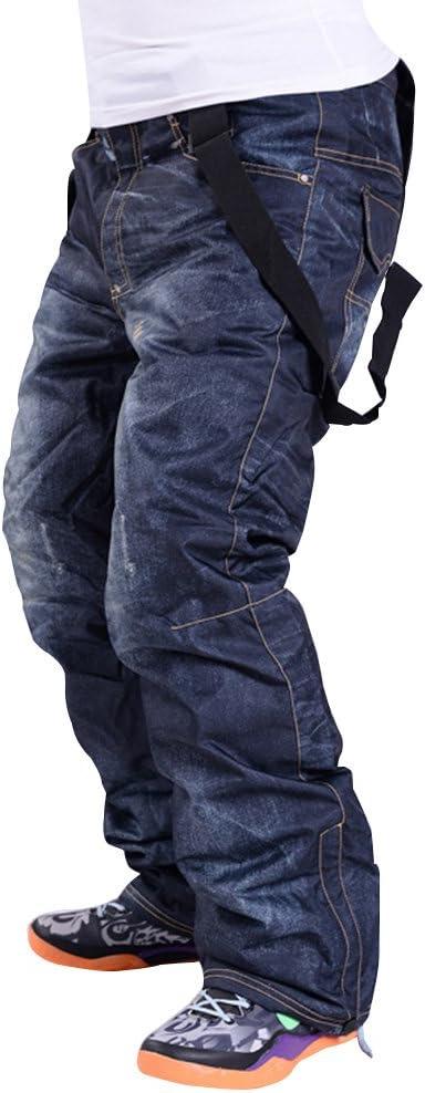 Men Winter Waterproof Warm Padded Denim Ski Snowboard Pants Trousers Salopettes