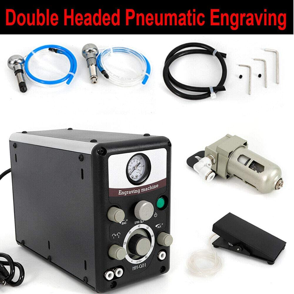 110V Pneumatic Engraver Engraving Machine Jewelry Graver Double Headed 0-60PSI
