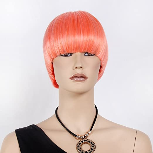 Amazon.com: STfantasy Orange Display Female Mannequin Wigs Short Straight Synthetic Hair Blunt Bang Mushroom Hair Peluca 12 Inch 130g: Arts, Crafts & Sewing