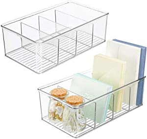 mDesign Plastic Office Storage Organizer Bin Box - 4 Divided Sections - Cabinets, Closets, Drawers, Desks, Tables, Workspace, 2 Pack - Clear