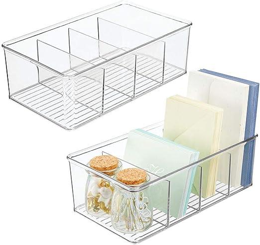mDesign Juego de 2 organizadores de escritorio – Cajas de plástico con 4 compartimentos cada una para utensilios de dibujo, sobres, tijeras, etc. – Ideales organizadores de bolígrafos – transparente: Amazon.es: Hogar