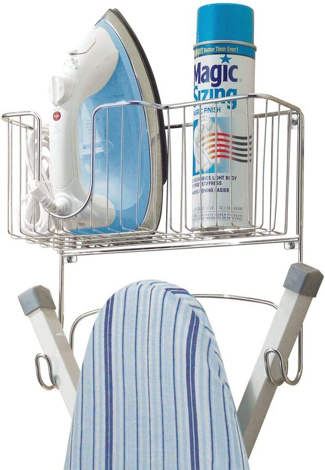mDesign Wall Mounted Ironing Board Holder - Steel Ironing Board Rack for Easy Organisation - Includes Basket for Iron Storage - Chrome Finish