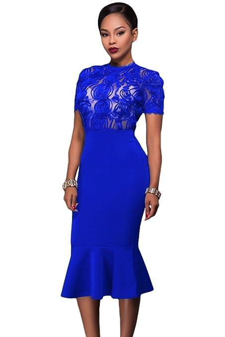 Nuevas señoras azul SHEER corpiño de encaje Midi vestido de cóctel vestido noche fiesta verano vestidos