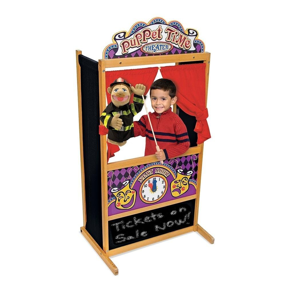 Melissa & Doug 2530 Deluxe Puppet Theater with Police Officer Puppet and Firefighter Puppet Bundle