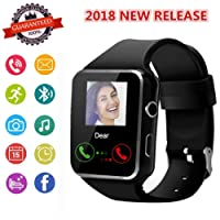 Mgaolo X6 Smart Watch Smartwatch Bluetooth Sweatproof Touchscreen Phone with Camera TF/SIM Card Slot for Android and iPhone Smartphones for Kids Girls Boys Men Women(Black)