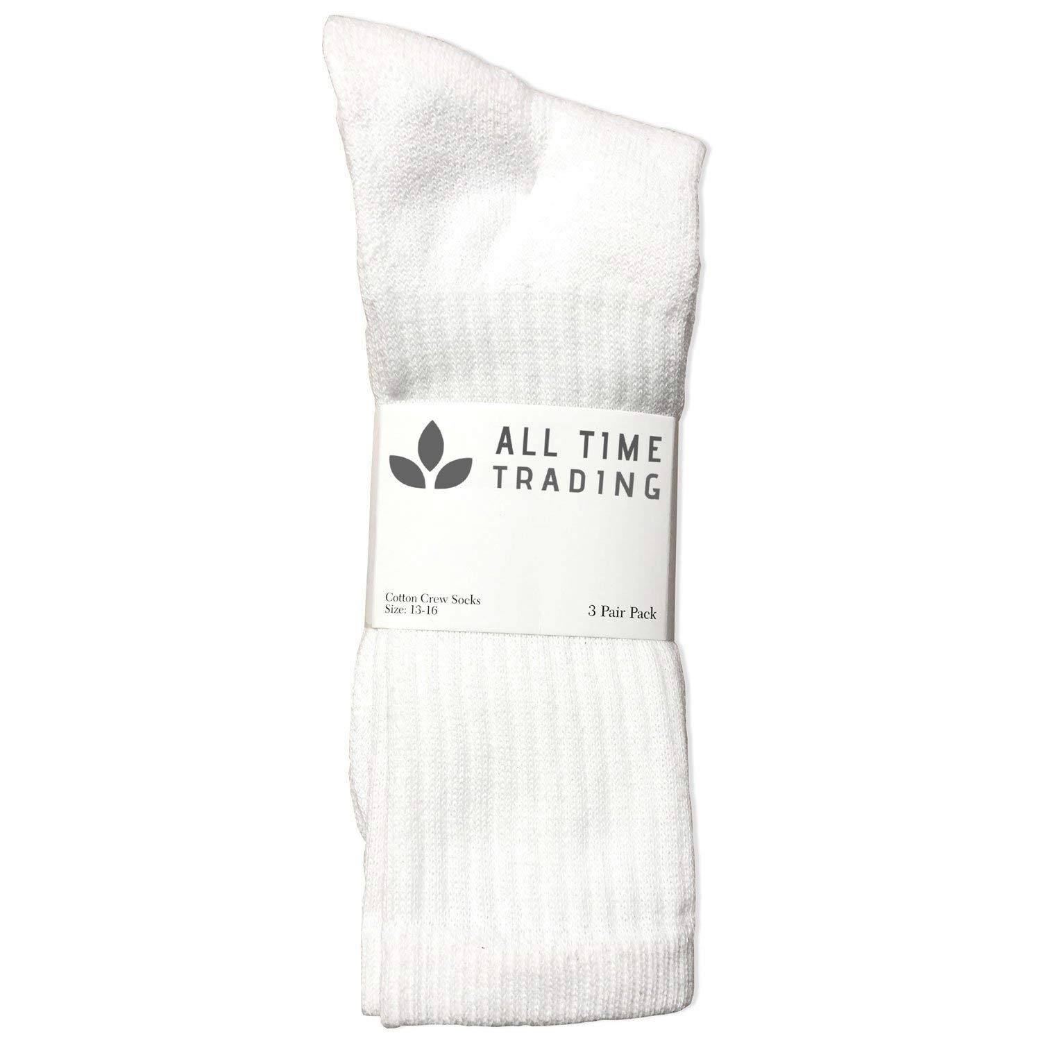 Men's King Size Cotton Crew Sock Plus Size Athletic Socks Men 13-16 White 72 pc by All Time Trading (Image #2)