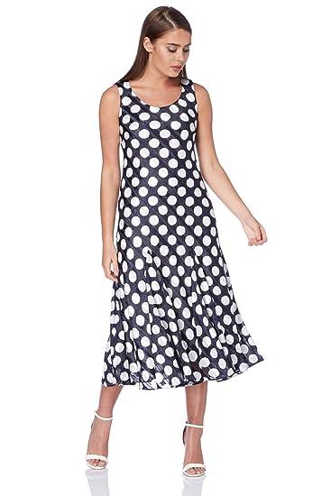 fcd74bcde1 Roman Originals Dresses Women Polka Dot Spot Print Satin Swing Midi Dress -  Ladies Dresses with Dots: Amazon.co.uk: Clothing