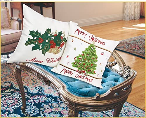 Violet Linen Christmas Tree Decorative Throw Pillow, 18 x 18