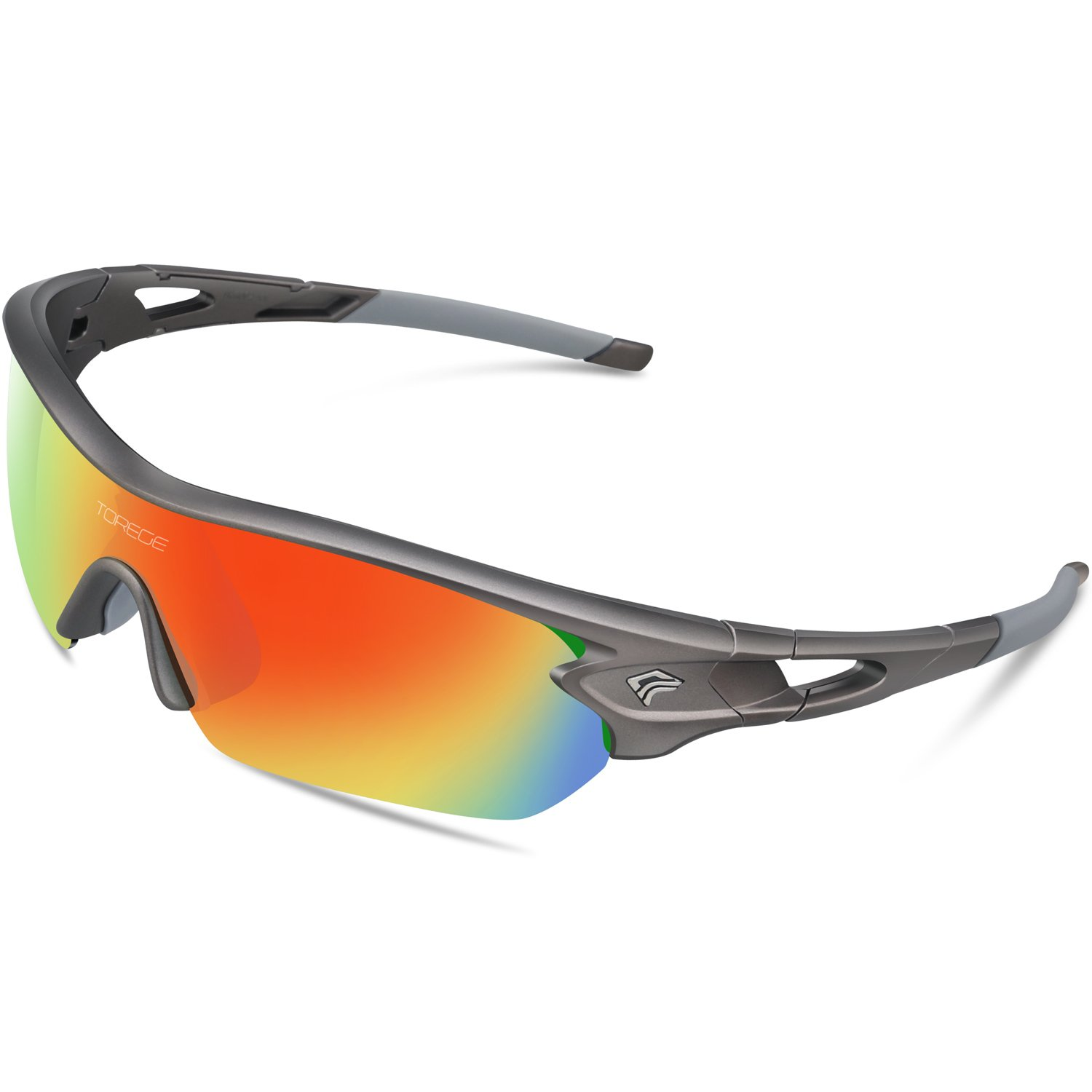2b02aec2a5 TOREGE Polarized Sports Sunglasses With 5 Interchangeable Lenes for Men  Women Cycling Running Driving Fishing Golf Baseball Glasses TR002 (Grey)   ...