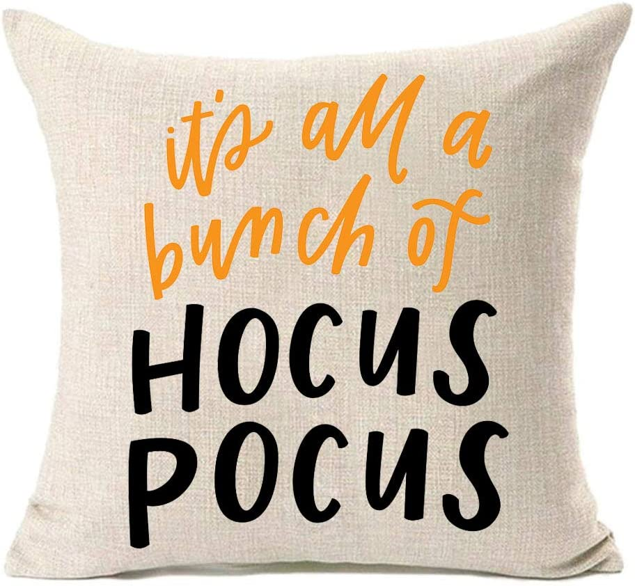 Amazon Com Mfgneh It S All A Bunch Of Hocus Pocus Home Decorations Halloween Pillow Covers 18x18 Inch Halloween Decor Cotton Linen Throw Pillow Case Cushion Cover Home Kitchen