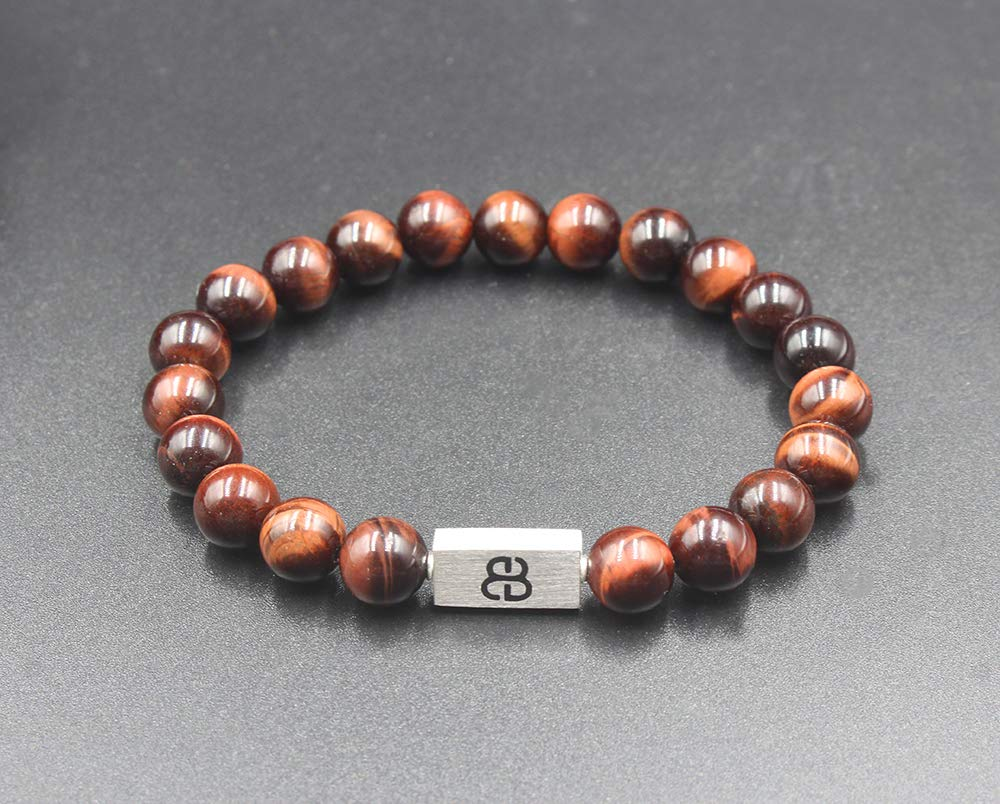 Red Tigers Eye and Sterling Silver Beads Bracelet