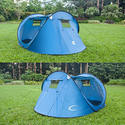 Outdoor Automatic Camping Family Tent Suit For 4 or 5 Person (Diamond Blue) (Quest Sport Dome Canopy compare prices)