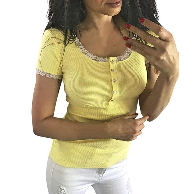 FELZ Blusas para Mujer, Botón de Manga Corta con Encaje o Cuello de ...