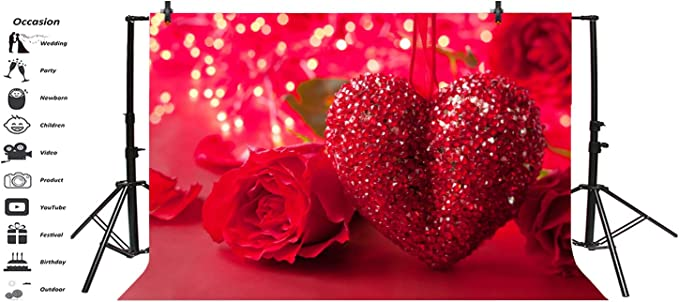Haoyiyi 10x8ft Valentines Day Backdrop Bokeh Red Hearts Shaped Space Pattern Background Photography Adults Couple Festival Birthday Wedding Marriage Mall Photo Booth Studio Props Drape
