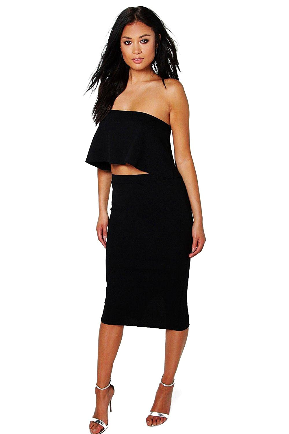 Black Womens Sasha Bandeau Top & Midi Skirt Co-Ord