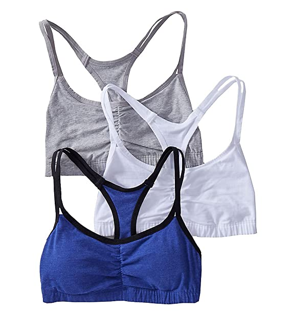 f882401c16 Fruit of the Loom Spaghetti Strap Removable Pads Bra - 3 Pack (9036RP)  32 Navy White Grey  Amazon.in  Clothing   Accessories