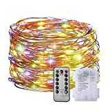 OFUN LED String Lights Battery Powered, 33ft 100 LED Fairy Lights with Remote, 8 Lighting Modes Starry Lights Copper Wire Lights Waterproof Decorative Lights for Bedroom Garden Party Decor, Multicolor