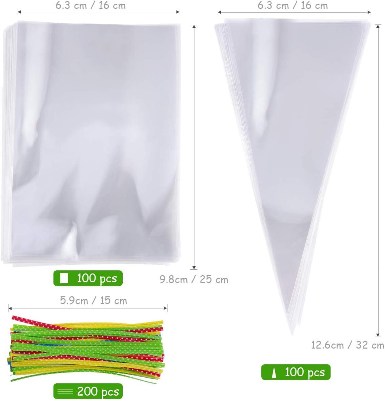 TOYANDONA bolsas de regalo de celof/án transparente 100 piezas de rect/ángulo y 100 piezas de tri/ángulo opp candy treat bags con 200 piezas de cintas para la fiesta navide/ña