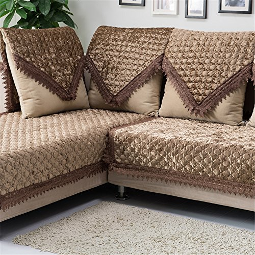 OstepDecor Pet Dog Couch Luxury Pleuche Quilted Furniture Protector Cover for Sofa, Loveseat | ONE PIECE | Backrest and Armrest Sold Separately (Dark Brown), 43