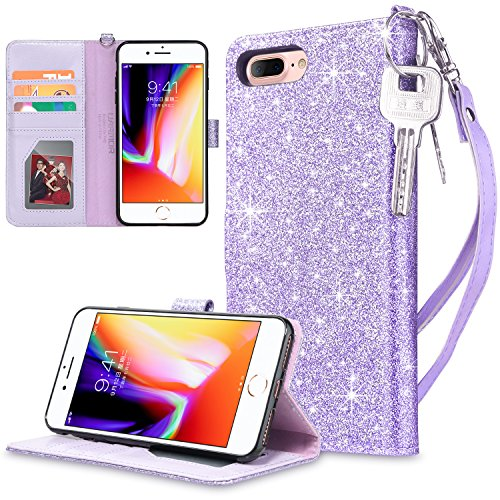 UARMOR Wallet Case for Apple iPhone 7 Plus / iPhone 8 Plus 5.5 inch, Bling Glitter Sparkle Shiny PU Leather Wallet Case with Kickstand Card Holder ID Slot Shockproof Folio Flip Case Cover, Purple