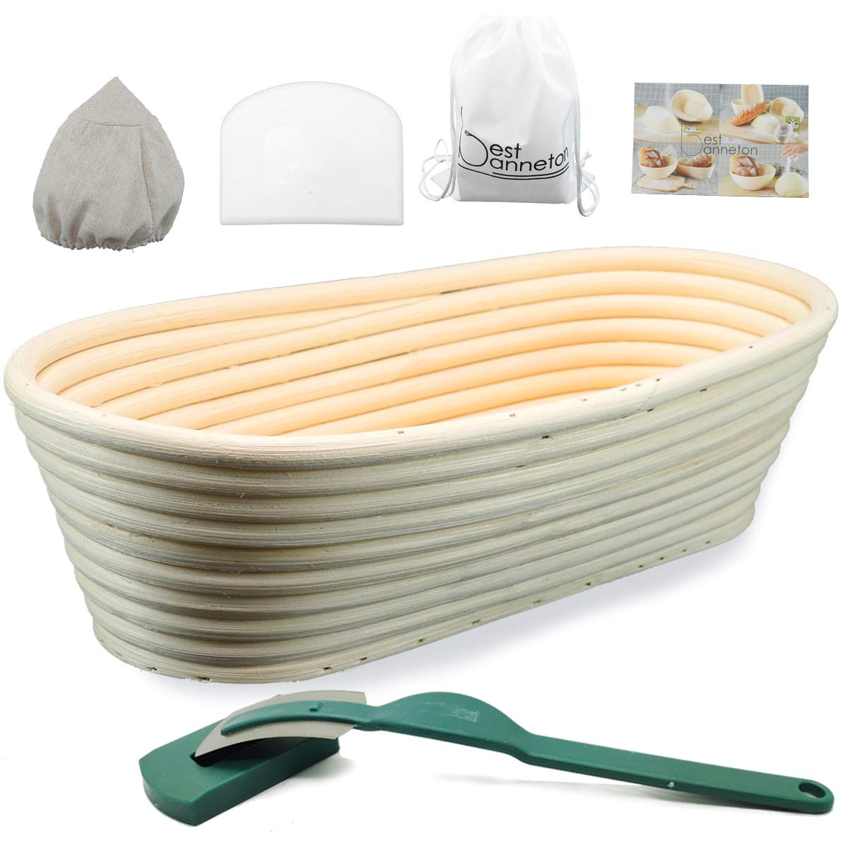 11 Inch Oval Bread Proofing Basket .Banneton proofing basket .Bread Basket+Bread lame+Dough Scraper +Proofing Cloth Liner for Sourdough Bread Baking Tools for Home Baker by Best Banneton