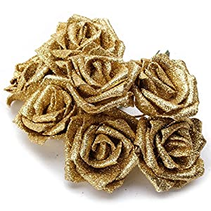 Rose Decoration - 7pcs Foam Glitter Artificial Rose Decor - Artificial Home Dusty Shower Rose Decorations Party Decoration Roses Baby Bedroom Cupcakes Bathroom 110