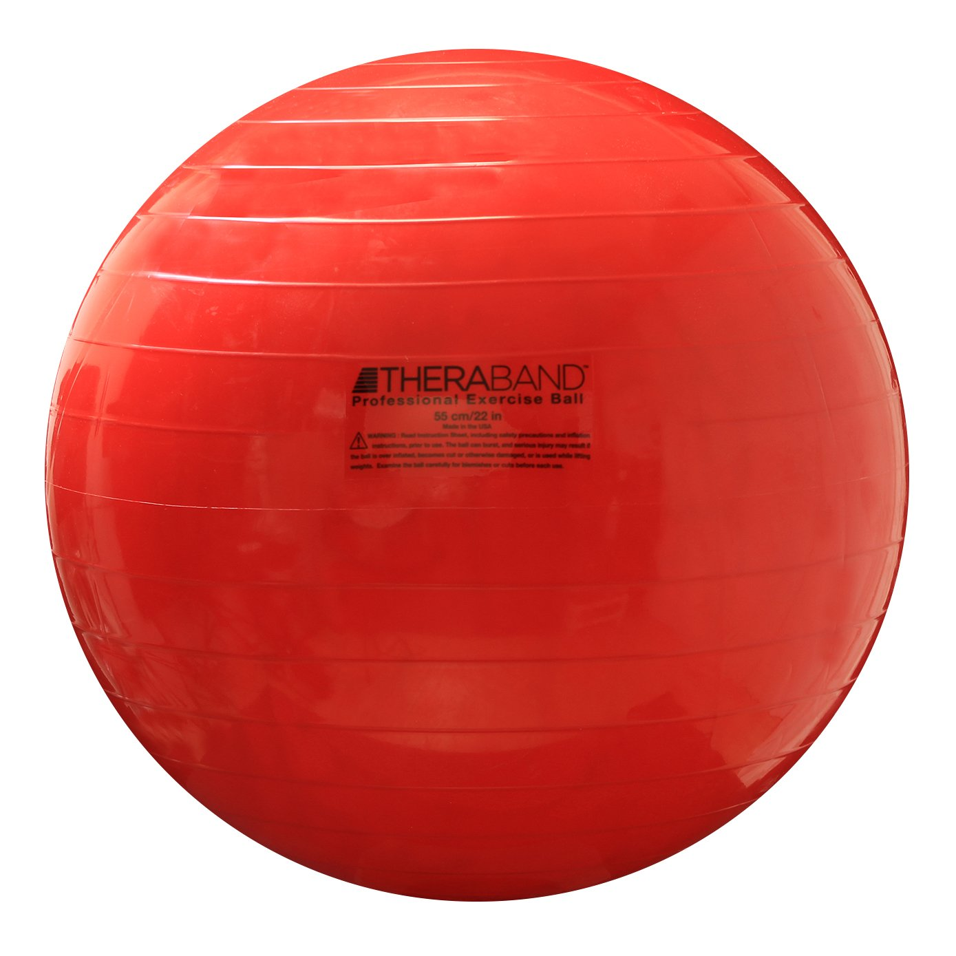 TheraBand Exercise Ball, Stability Ball with 55 cm Diameter for Athletes 5'1'' to 5'6'' Tall, Standard Fitness Ball for Posture, Balance, Yoga, Pilates, Core, Rehab, Red