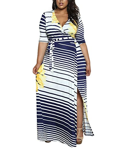 d22a33ed75c CACNCUT Women's Plus Size Dress, Big Size Maxi Dress for Women Sexy Evening  Bodycon Dresses(22W, Yellow) at Amazon Women's Clothing store: