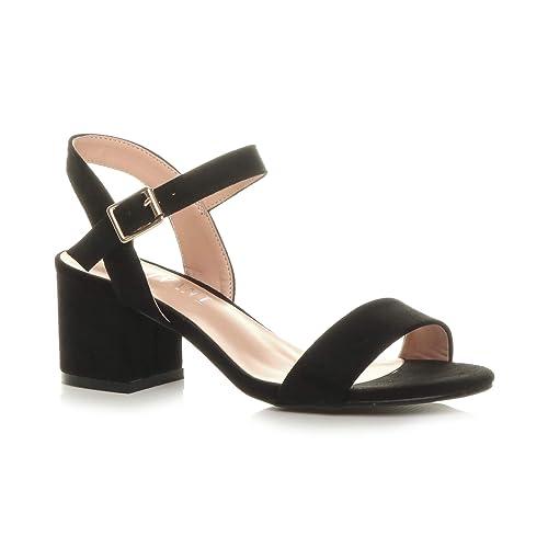 f3429e733929 Ajvani Women Ladies Low Block Heel peep Toe Ankle Strap Strappy Party  Sandals Size 3 36