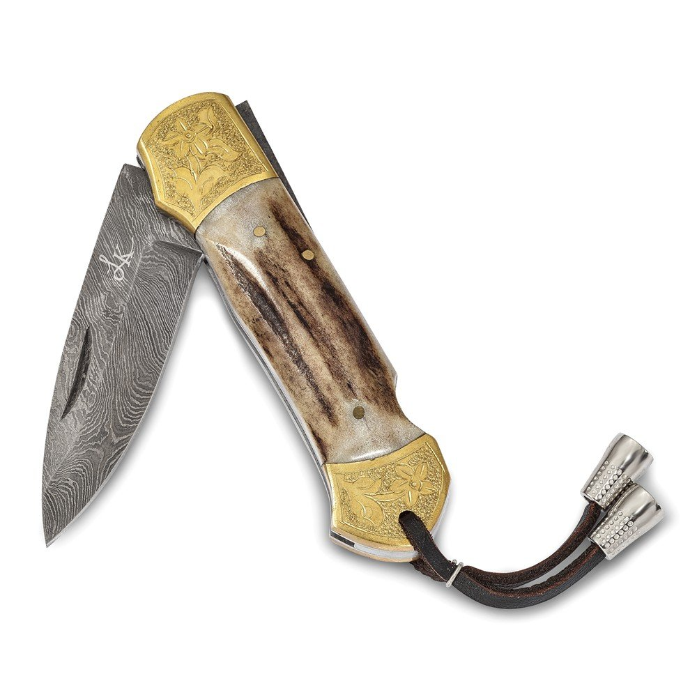 Damascus Steel Folding Blade Genuine Antler Handle Knife Luxury Gifts by Roy Rose Gifts by Roy Rose Gifts (Image #3)