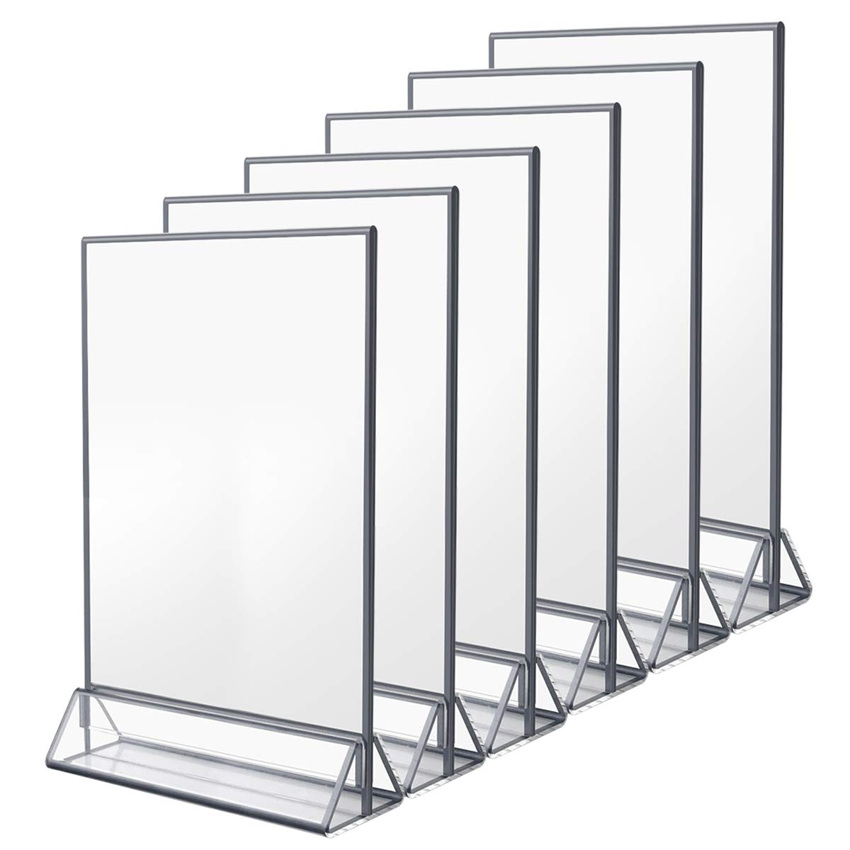 NIUBEE 6Pack 8.5x11 Clear Acrylic Sign Holder with Sliver Borders and Vertical Stand, Double Sided Table Menu Holders Picture Frames for Wedding Table Numbers, Restaurant Signs, Photos and Art Display