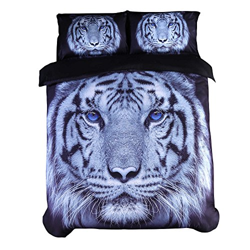 Encoft 3D Tiger Bedding Large Tiger Head with Blue Eyes Printed 4 Pieces Duvet Cover Set, Cotton Tencel Blend Black Bedding (Twin)