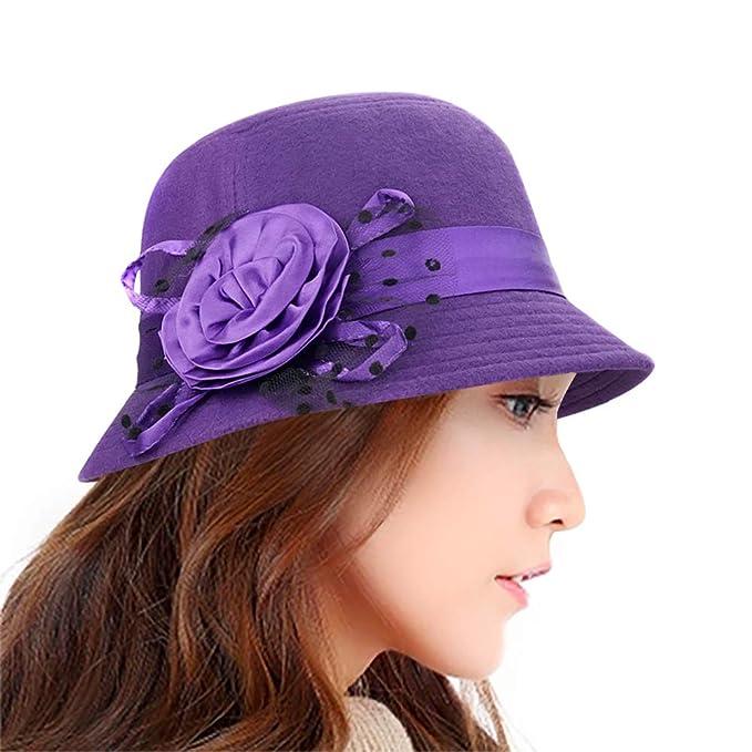 33b1329ee43 Lamdgbway Fedora Winter Hats Bucket Hat Flower Felt Cloche Hat Bowler Hats  Purple