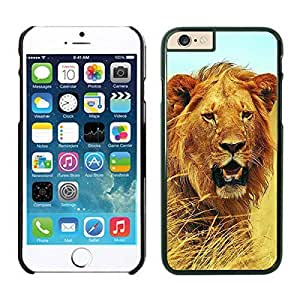 Apple Iphone 6 Case 4.7 Inches, Pattern Lion Animal Design Black Hard Phone Case Cover for Iphone 6 by runtopwell
