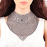 Gabrine Womens Girls Vintage Openwork Bib Collar Necklace Choker Necklace Long Necklace for Wedding Bridal Party Prom(Silver)