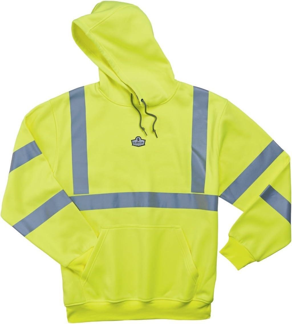 Medium GloWear 8393 ANSI High Visibility Reflective Hooded Sweatshirt Lime
