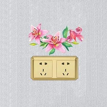 Pegatina De Pared Pegatinascolorido Rosa Lirio Flores Artisíticas ...