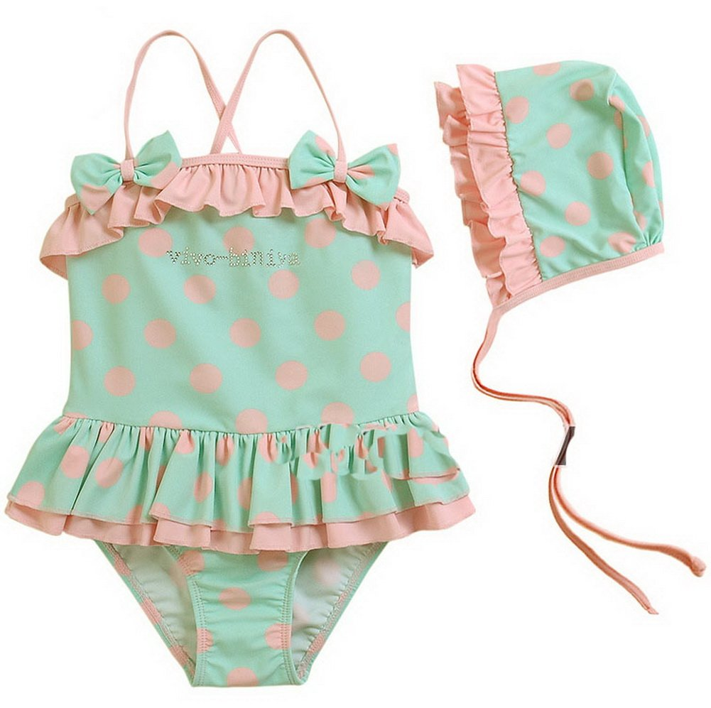 Cute Light Green & Pink One Piece & Cap Girls Beachwear 4T (2-4 Years Old) PANDA SUPERSTORE PS-SPO2420249011-EMILY00802