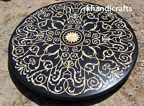 rkhandicrafts 48 Inches Rounded Black Marble Patio Dining Table Top, Patio Coffee Table, Hallway Dining Table Inlay Work with Tiger Eye Gemstones, Elegant Look Home Decor