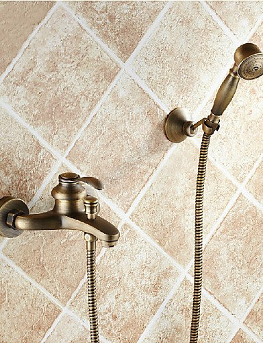 QKSLHNAB Bathroom Wall Mounted Antique Brass Bathtub Faucet with Hand Shower Set HNDAXZT