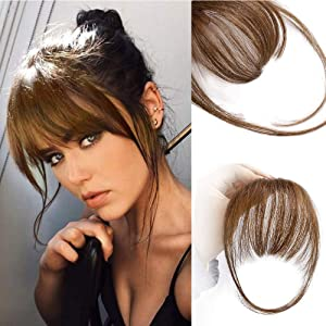 AISI QUEENS Clip in Bangs Real Human Hair Medium Brown Bangs One Piece Clip in Fringe Hair Extensions for Women
